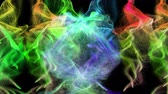 Six colorful iridescent particle streams spread from above on black background, 3D animation.