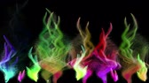Many colorful iridescent particle streams flashes on black background, 3D animation, seamless loop.
