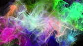 3D animated beautiful clouds of abstract multicolored particles, seamless loop background.