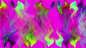 Multiple colorful iridescent particle streams flashes on magenta background, 3D animation, seamless loop.