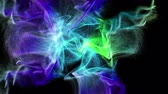Abstract motion of beautiful colorful particles emitted from the center of the screen. 3D animation on black background.
