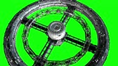 Giant sci-fi torus. Circular space station rotate on green screen, 3d animation. Stockvideo