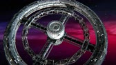 Giant sci-fi torus. Circular space station rotate on abstract Nebula background, 3d animation.