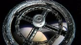 spacecraft : Giant sci-fi torus. Circular space station rotate on Saturn background, 3d animation. Texture of the Planet was created in the graphic editor without photos and other images. Stock Footage