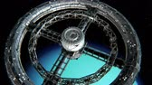 Giant sci-fi torus. Circular space station rotate on Uranus background, 3d animation.