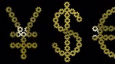 стерлинг : Golden gears World currency signs. Seamless loop 3d animation on black background.