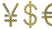 стерлинг : Golden gears World currency signs. Seamless loop 3d animation on white background.