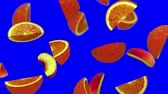 guloseima : Lobules of fruits falling on blue screen, 3d animation, seamless loop