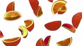 vegetal : Lobules of fruits falling on white background, 3d animation, seamless loop