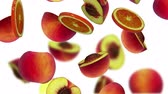 pêssego : Sections of fruits falling on white background, 3d animation, seamless loop