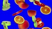 vegetal : Sections of fruits falling on blue screen, 3d animation.