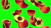brzoskwinia : Sections of peach falling on green screen, 3d animation. Wideo