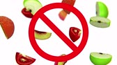 egyetemes : Dangerous harmful fruits in prohibition sign, 3d animation on white background.