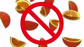 unclean : Dangerous harmful oranges in prohibition sign, 3d animation on white background. Stock Footage