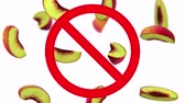 unclean : Dangerous harmful peaches in prohibition sign, 3d animation on white background.