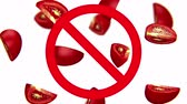 prejudicial : Dangerous harmful tomatoes in prohibition sign, 3d animation on white background.