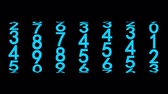 šifra : Blue numerals of the counter on black background, 3d animation, seamless loop.