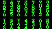 численный : Green numerals of the counter moving up on black background. Seamless loop 3d animation.