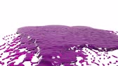 paint : purple drops falling on white surface slow motion. syrup