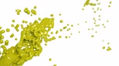 paint : yellow fluid splash in slow motion. DOF. Colored liquid Stock Footage