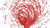 mysterious : Red Liquid tornado. Beautiful colored red paint whirl. Isolated transparent vortex of liquid like whirlwind 3d animation with alpha matte. Version 2