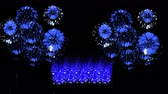 cierge magique : Colorful fireworks at night. Spectacular firecrakers 3d render. Blue version 13
