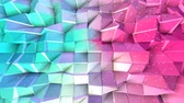 grid : Abstract simple blue pink low poly 3D surface and flying white crystals as simple background. Soft geometric low poly background of pure blue pink polygons. 4K Fullhd seamless loop background.