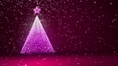 trees : Puple big Christmas tree from glow shiny particles on the left side. Winter theme for Xmas or New Year background with copy space. 3d Xmas tree V2 with snow DOF Stock Footage