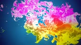 tenso : Multicolor 3d flow of dense ink inject in water in slow motion on blue background. Use as background, ink effects on luma matte as alpha channel. Colors of ink are rainbow gradient with backlit. V29 Stock Footage