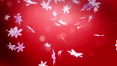 csillog : beautiful 3d snowflakes fall at night on a red background. Use as animated Christmas, New Year card or winter environment with large snowflakes, lens flare, bokeh. Snowflake V8.