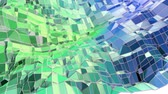 cristalino : Abstract low poly style looped geometric background. 3d seamless animation in 4k. Modern gradient colors. Low poly blue green surface as cartoon terrain v7 Vídeos