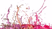 multi colored : 3d splashes of paint dance in 4k on white background. Simulation of splashes of ink on a musical speaker that play music. V30