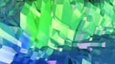 deformer : 4k low poly background animation in loop. Seamless 3d animation in modern geometric low poly style with gradient colors. Creative simple background. V1 blue green landscape
