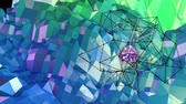 időszakos : 4k low poly background animation in loop. Seamless 3d animation as creative simple low poly background. V7 blue green landscape with sphere and moving framework