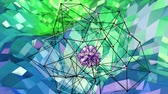 origami background : 4k low poly background animation in loop. Seamless 3d animation as creative simple low poly background. V9 blue green landscape with sphere and moving framework