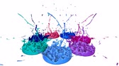 falante : 3d splashes of liquid. Paint bounce in 4k on white background. Simulation of splashes of ink on a musical speaker that play music. multicolor version