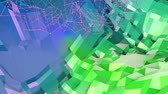 időszakos : 4k clean low poly animated background in loop. Seamless 3d animation in modern geometric style with modern gradient colors. Creative simple background. Blue green gradient colors 1
