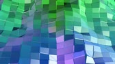 oscillation : 4k clean geometric animated background in loop, low poly style. Seamless 3d animation with modern gradient colors. Creative simple green blue background. 3