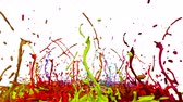 colidir : colorful background with liquid. Simulation of splashes of paint on a musical speaker that play music. 3d splashes of liquid. Paint bounce in 4k on white background. multicolor version 9 Vídeos