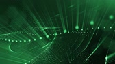 линейный : Abstract green background as a loopable sequence with glow particles and depth of field. 3d render of massive of particles with glow that form surfaces in looped motion. 6 Стоковые видеозаписи