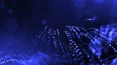 pontilhado : 4k 3d render of glow particles on dark blue background as abstract seamless background with depth of field and bokeh. Science fiction or microcosm with garland . 3d Loop animation. 1