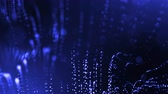 defocused 표시 : 4k 3d render of glow particles on dark blue background as abstract seamless background with depth of field and bokeh. Science fiction or microcosm with garland . 3d Loop animation. 3