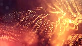 pontozott : 4k 3d render of glow particles on dark red golden background as abstract seamless background with depth of field and bokeh. Science fiction or microcosm with garland. 3d Loop animation. 1