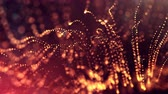 interruptor : 4k 3d render of glow particles on dark red golden background as abstract seamless background with depth of field and bokeh. Science fiction or microcosm with garland. 3d Loop animation. 2