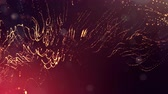 seamless : 3d golden red background with fantastic luminous particles. Looped 3d animation with depth of field, light effects. Modern digital background. point field 2