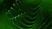 массивный : 3d green background with fantastic luminous particles. Looped 3d animation with depth of field, light effects. Modern digital background. Curved lines 13 Стоковые видеозаписи