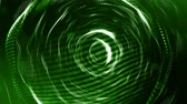 pontozott : 3d green background with fantastic luminous particles. Looped 3d animation with depth of field, light effects. Modern digital background. spherical structures 1 Stock mozgókép