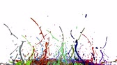 falante : 3d render of liquid splash on jar like paint on sound speaker. colorful 3d composition with dancing liquid. multicolor version 2 Stock Footage