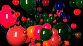 minimalista : motion graphics 3d looped animation as background in 4k with simple spheres and depth of field. many multi-colored spheres swarm and move around, with beautiful highlights and reflections. Vídeos