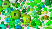 wiggle : 4k looped 3d animation with a shifting focus then back and forth, depth of field, bokeh effects. abstract composition with geometric objects like a capsule with a hole. shades of green Stock Footage